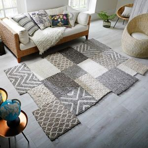 Eclectic Agra Grey Wool Rug by Flair Rugs