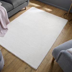 Emelia Faux Fur Bergen Ivory Plain Rug by Flair Rugs