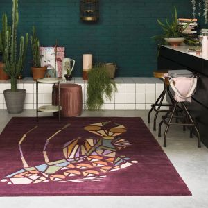 Emerging 160500 Fish Burgundy Wool Rug by Ted Baker