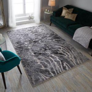 Eris Lyra Silver Modern Rug by Flair Rugs