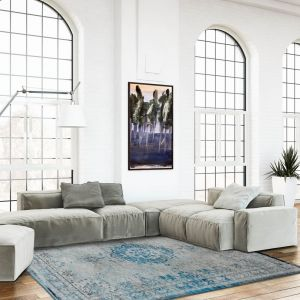 Fading World 8255 Grey Turquoise Designer Luxury Rug By De Poortere