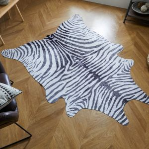 Faux Animal Zebra Print Black White Rug by Flair Rugs