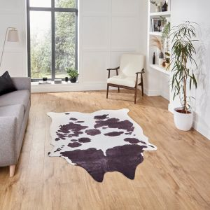 Faux Cow Print Black White Abstract Rug by Think Rugs