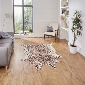 Faux Leopard Print Brown Beige Abstract Rug by Think Rugs