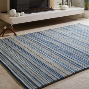 Fine Stripes Blue Beige Wool Rug by Origins