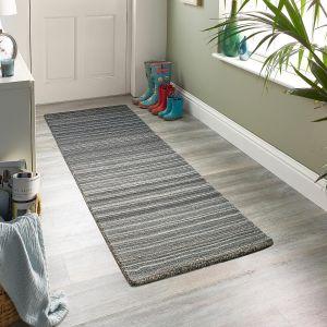 Fine Stripes Grey Wool Runner by Origins