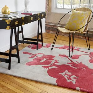 Floral 300 Poppy 039600 Wool Rug by Florence Broadhurst