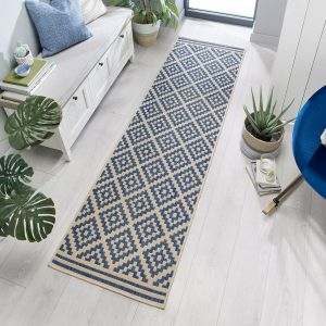 Florence Alfresco Moretti Blue Beige Runner by Flair Rugs