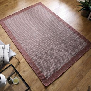 Florence Alfresco Raffles Rust Geometric Bordered Rug by Flair Rugs