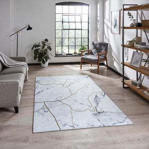 Force K7281 Ivory Gold Abstract Rug by Think Rugs