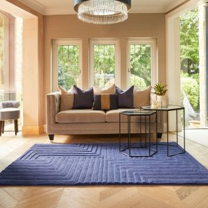 Form Blue Geometric Wool Rug by Origins