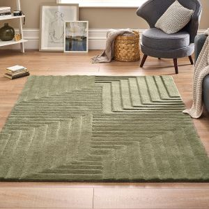 Form Olive Geometric Wool Rug by Origins