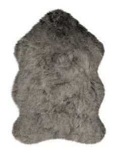 Freja Faux Fur Copenhagen Charcoal Shaggy Plain Rug by Flair Rugs