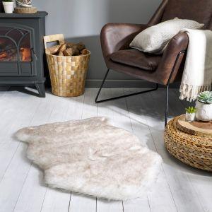 Freja Faux Fur Copenhagen Cream Shaggy Plain Rug by Flair Rugs