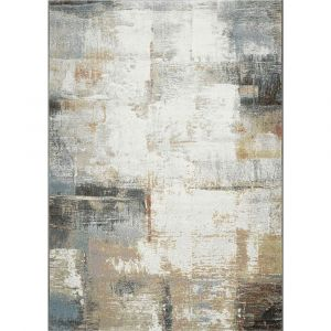 Galleria 063-07239290 White Beige Contemporary Abstract Rug by Mastercraft
