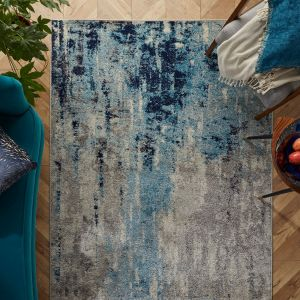Gilbert 90 L Blue Grey Abstract Rug by Oriental Weavers