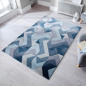 Hand Carved Aurora Denim Blue Rug by Flair Rugs