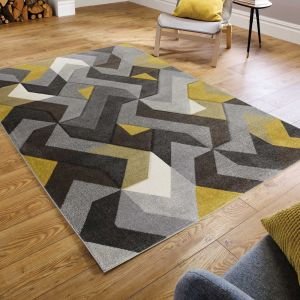Hand Carved Aurora Grey Ochre Rug by Flair Rugs