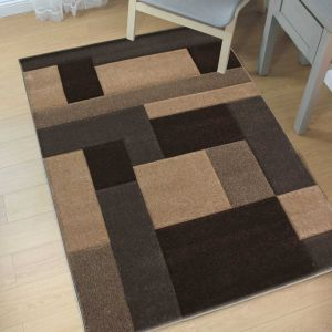Hand Carved Cosmos Beige Brown Modern Rug by Flair Rugs