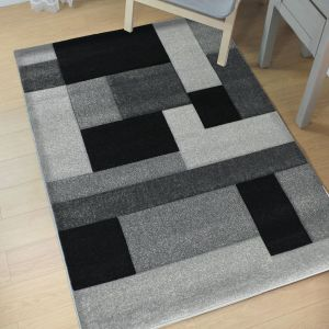 Hand Carved Cosmos Black Grey Modern Rug by Flair Rugs