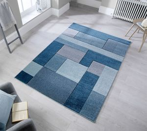 Hand Carved Cosmos Denim Blue Rug by Flair Rugs