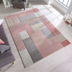 Hand Carved Cosmos Dusky Pink Rug by Flair Rugs