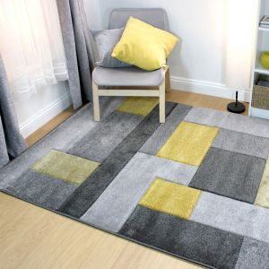 Hand Carved Cosmos Ochre Modern Rug by Flair Rugs