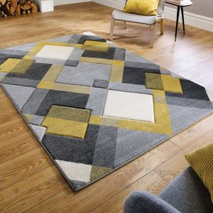 Hand Carved Nimbus Grey/Ochre Rug by Flair Rugs