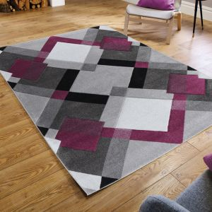 Hand Carved Nimbus Grey/Purple Rug by Flair Rugs