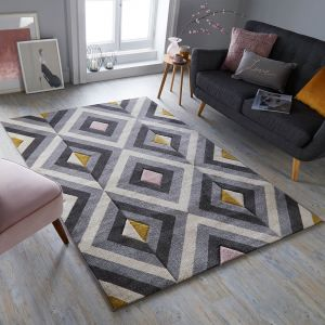 Hand Carved Paloma Grey Ochre Pink Rug by Flair Rugs