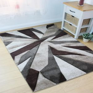 Hand Carved Shatter Beige Brown Modern Rug by Flair Rugs