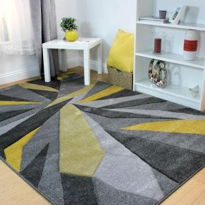 Hand Carved Shatter Ochre Rug by Flair Rugs