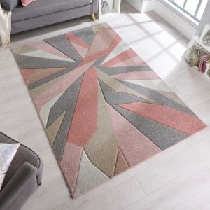 Hand Carved Shatter Dusky Pink Modern Rug by Flair Rugs