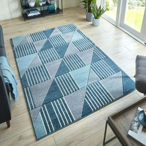 Hand Carved Velocity Blue Grey Rug by Flair Rugs
