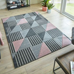 Hand Carved Velocity Blush Pink Grey Rug by Flair Rugs