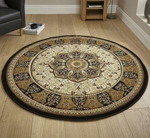 Heritage 4400 Black Cream Circle Traditional Rug By Think Rugs
