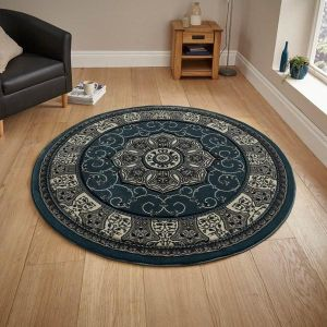 Heritage 4400 Dark Blue Traditional Circle Rug by Think Rugs