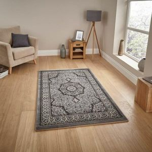 Heritage 4400 Grey Traditional Rug by Think Rugs