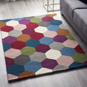 Hexagon Multicoloured Geometric Wool Rug by Origins