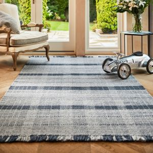 Highland Check Blue Geometric Rug by Origins