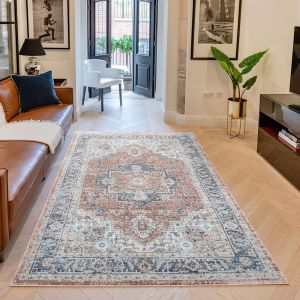 Heritage HRTG105 Rust Blue Traditional Rug by Concept Looms