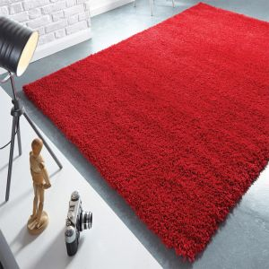 Athena Shine Hudson Red Plain Shaggy Rug by Flair Rugs
