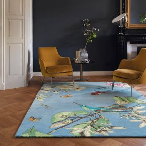 Hummingbird 37808 Blue Nature Print Hand Tufted Wool Rug by Wedgwood
