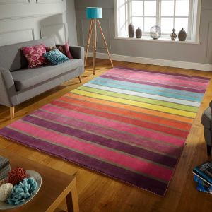 Illusion Candy Multicoloured Wool Rug By Flair Rugs