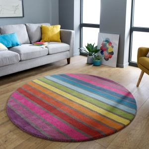 Illusion Candy Multicoloured Wool Circle Rug by Flair Rugs