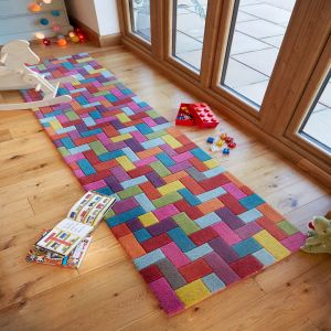 Illusion Candy Multicoloured Wool Runner by Flair Rugs
