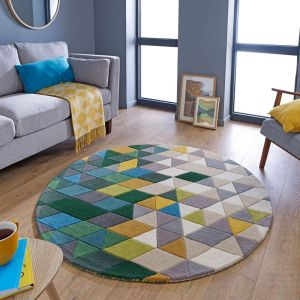 Illusion Prism Green Multi Wool Circle Rug by Flair Rugs