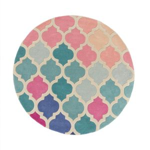 Illusion Rosella Pink Blue Wool Circle Rug by Flair Rugs