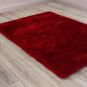 Indigo Red Shaggy Rug by HMC