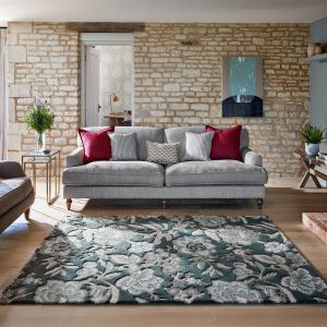 Indra 145804 Slate Charcoal Floral Rug by Sanderson